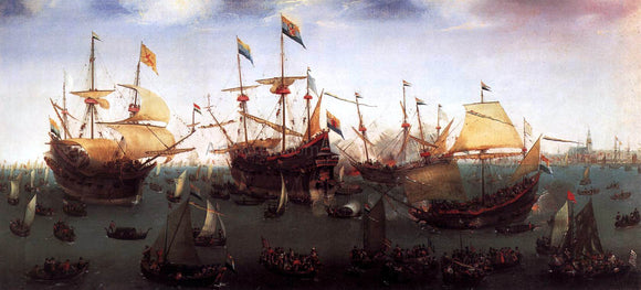 Hendrick Cornelisz Vroom The Return in Amsterdam of the Second Expedition to the East Indies - Canvas Art Print