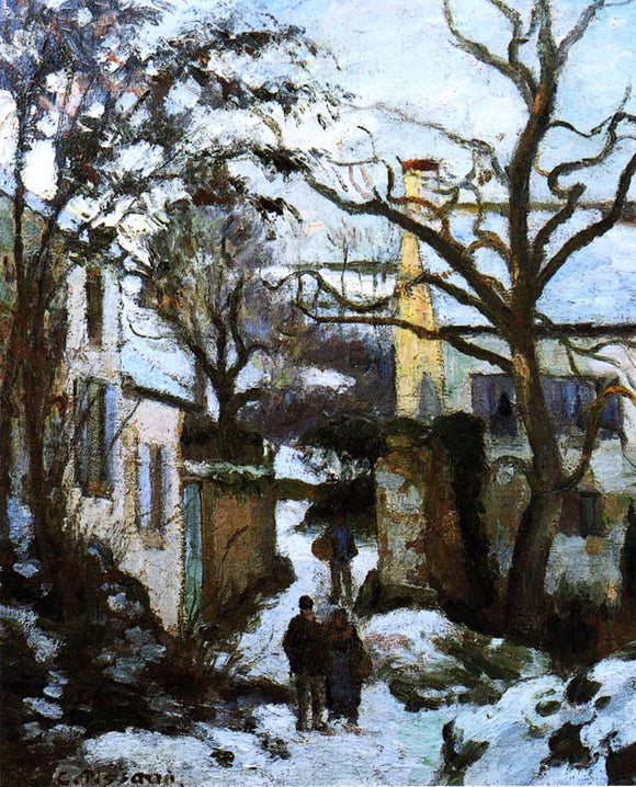 Camille Pissarro A Road to L'Hermitage in Snow - Canvas Art Print