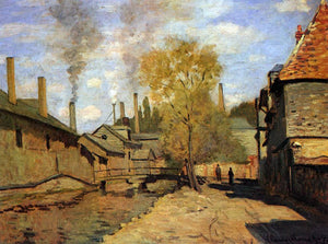 Claude Oscar Monet The Robec Stream, Rouen (also known as Factories at Deville, near Rouen) - Canvas Art Print