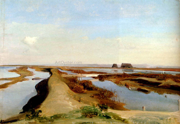Jean-Baptiste-Adolphe Gibert The Salt Marshes, Ostia - Canvas Art Print