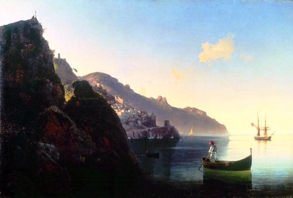 Ivan Constantinovich Aivazovsky The seashore of Amalfi - Canvas Art Print