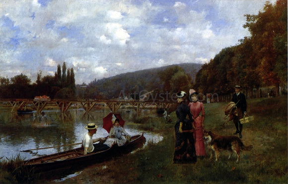 Julius LeBlanc Stewart The Seine at Bougival - Canvas Art Print