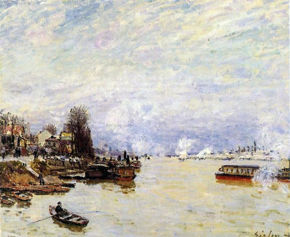 Alfred Sisley The Seine, View from the Quay de Pont du Jour - Canvas Art Print