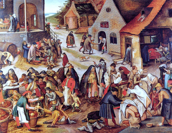 The Younger Pieter Bruegel The Seven Acts of Charity (also known as The Seven Acts of Mercy) - Canvas Art Print