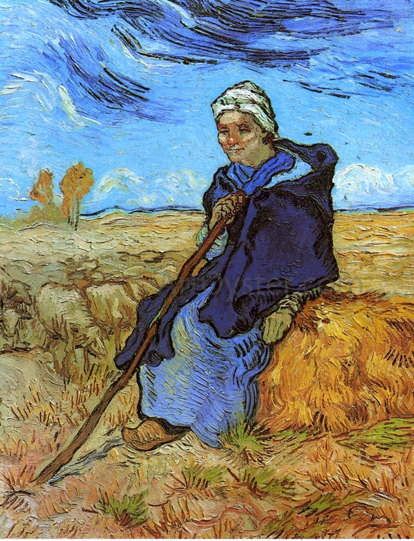 Vincent Van Gogh The Shepherdess (after Millet) - Canvas Art Print