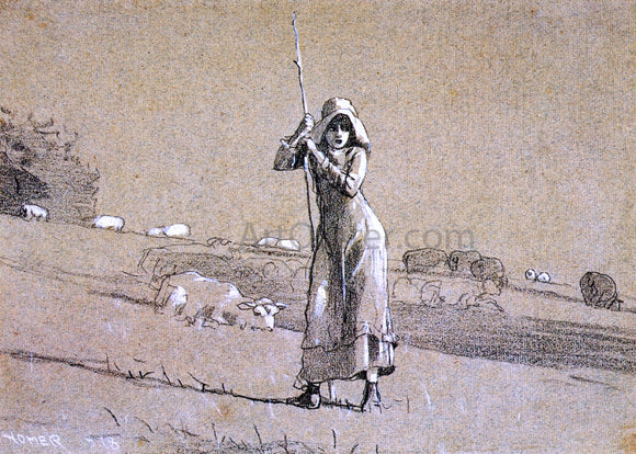 Winslow Homer The Shepherdess - Canvas Art Print
