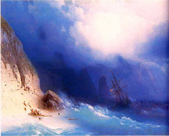Ivan Constantinovich Aivazovsky The Shipwreck near rocks - Canvas Art Print