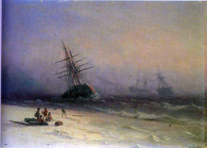Ivan Constantinovich Aivazovsky The Shipwreck on Northern Sea - Canvas Art Print