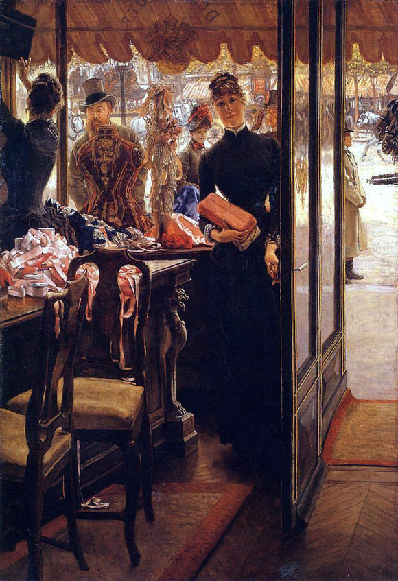 James Tissot The Shop Girl - Canvas Art Print