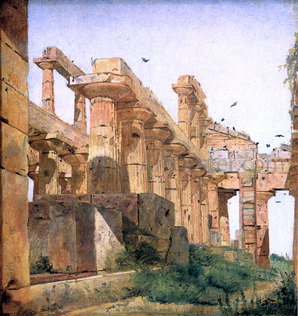 Jorgen Roed The So-Called Temple of Poseidon, Paestum - Canvas Art Print