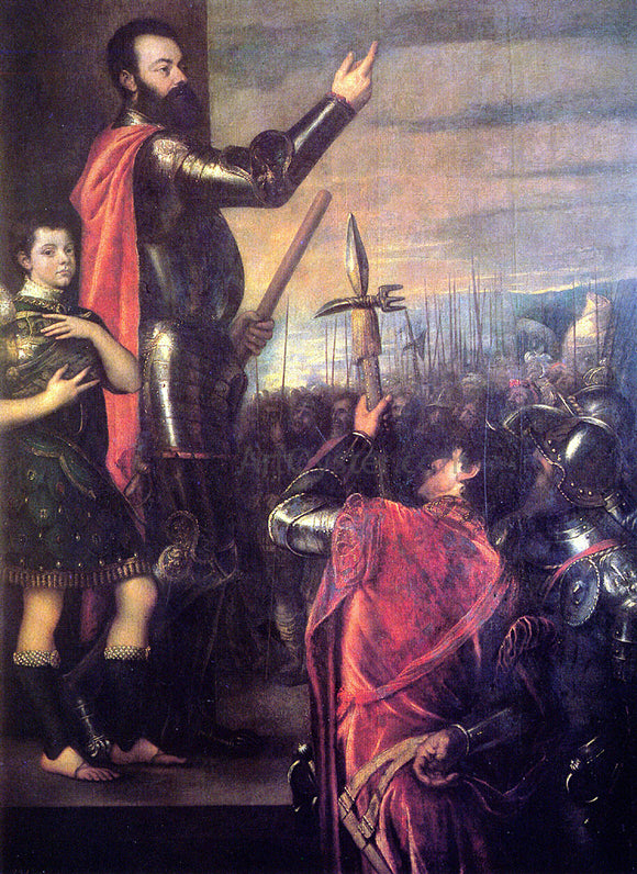 Titian The Speech of Alfonso d'Avalo - Canvas Art Print