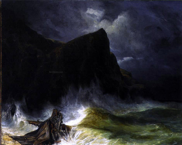 Eugene Isabey The Storm (also known as Shipwreck) - Canvas Art Print