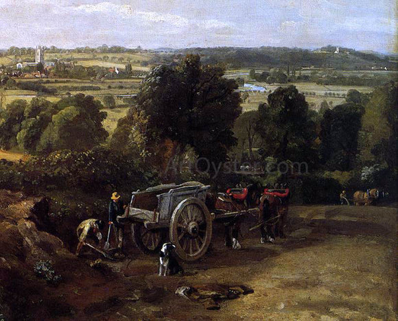 John Constable The Stour-Valley with the Church of Dedham (detail) - Canvas Art Print