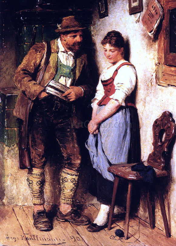 Hugo Kauffmann The Sweetheart - Canvas Art Print