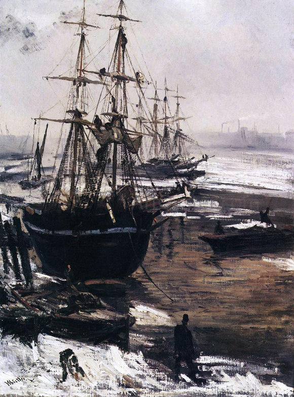 James McNeill Whistler The Thames in Ice - Canvas Art Print