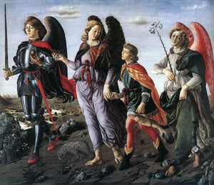 Francesco Botticini The Three Archangels with Tobias - Canvas Art Print