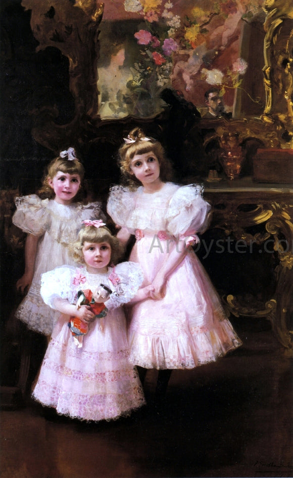 Joaquin Sorolla Y Bastida The Three Errazuriz Sisters - Canvas Art Print
