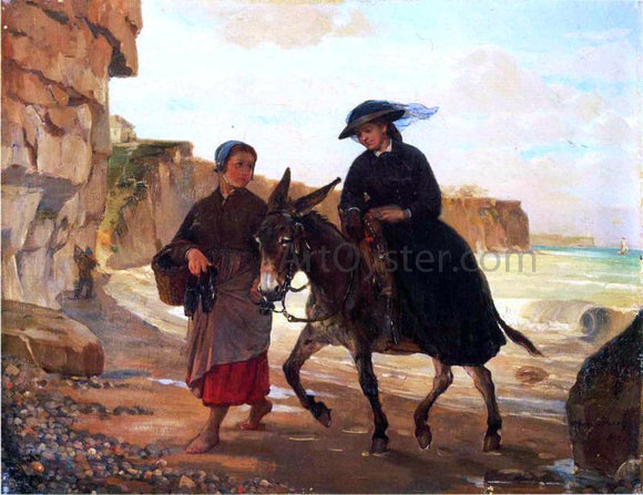 Henry Bacon The Tourist and the Fisherwoman - Canvas Art Print