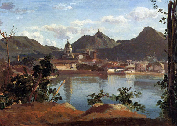 Jean-Baptiste-Camille Corot The Town and Lake Como - Canvas Art Print