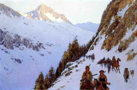 Henry F Farney The Trail Over the Pass - Canvas Art Print