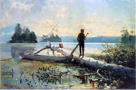 Winslow Homer The Trapper, Adirondacks - Canvas Art Print