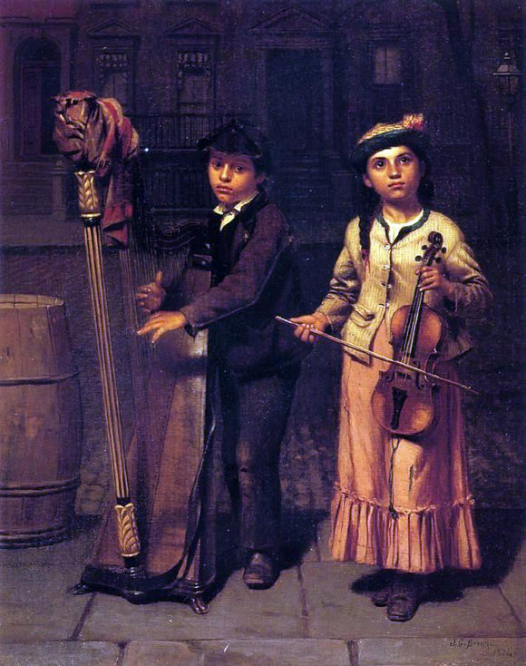 John George Brown The Two Musicians - Canvas Art Print