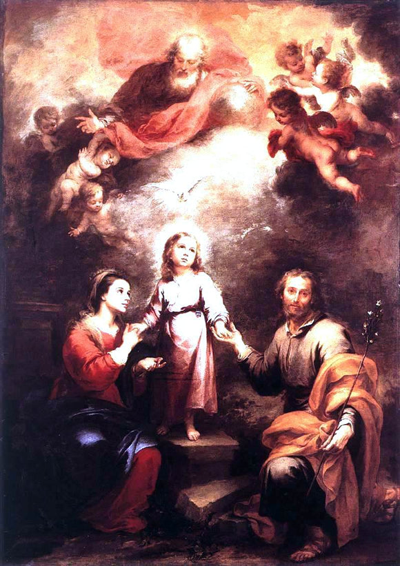 Bartolome Esteban Murillo The Two Trinities - Canvas Art Print