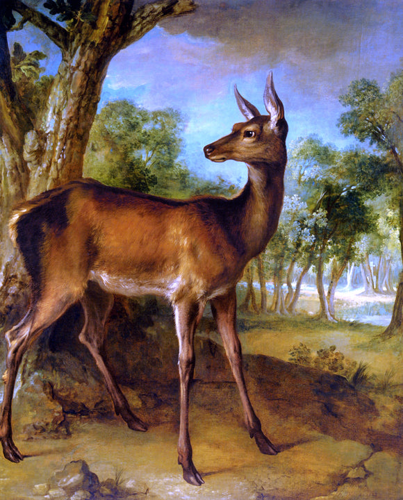Jean-Baptiste Oudry The Watchful Doe - Canvas Art Print