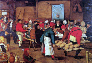 The Younger Pieter Bruegel The Wedding Feast in a Barn - Canvas Art Print