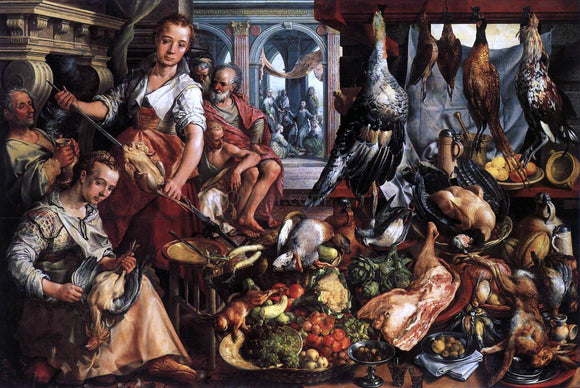 Joachim Beuckelaer The Well-Stocked Kitchen - Canvas Art Print