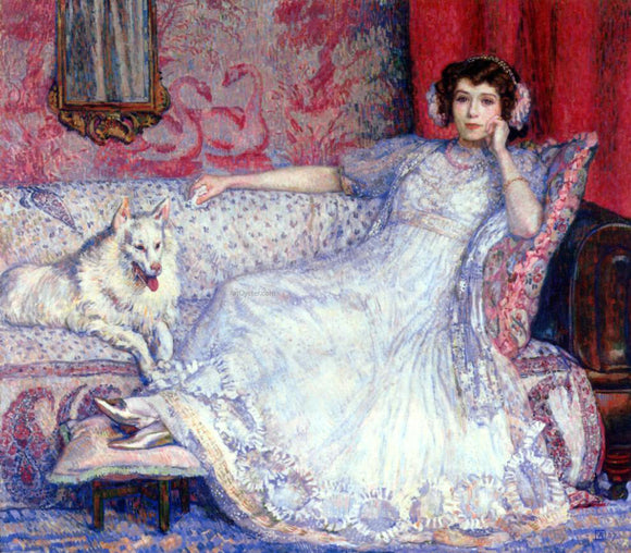 Theo Van Rysselberghe The Woman in White (also known as Portrait of Madame Helene Keller) - Canvas Art Print