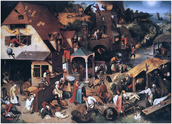 The Elder Pieter Bruegel The World Upside Down (also known as The Flemish Proverbs) - Canvas Art Print