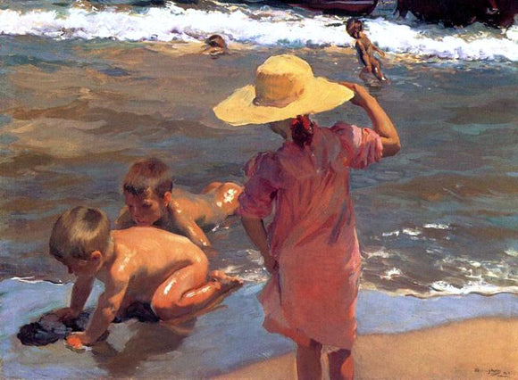 Joaquin Sorolla Y Bastida The Young Amphibians - Canvas Art Print