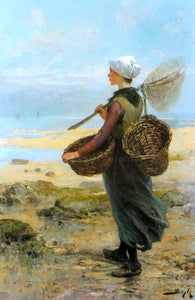 Pierre-Marie Beyle The Young Fisherwoman - Canvas Art Print