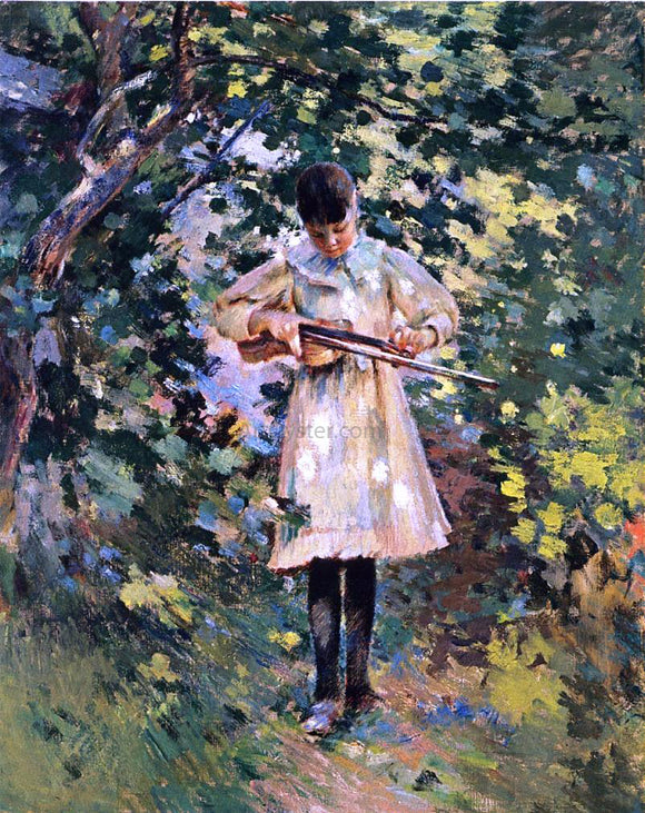Theodore Robinson The Young Violinist (also known as Margaret Perry) - Canvas Art Print