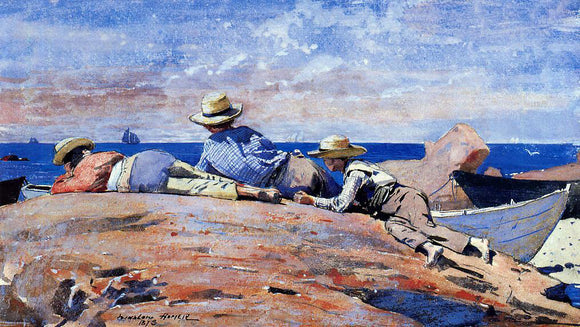 Winslow Homer Three Boys on the Shore - Canvas Art Print
