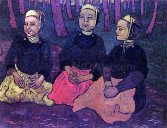 Georges Lacombe Three Breton Women in the Forest - Canvas Art Print