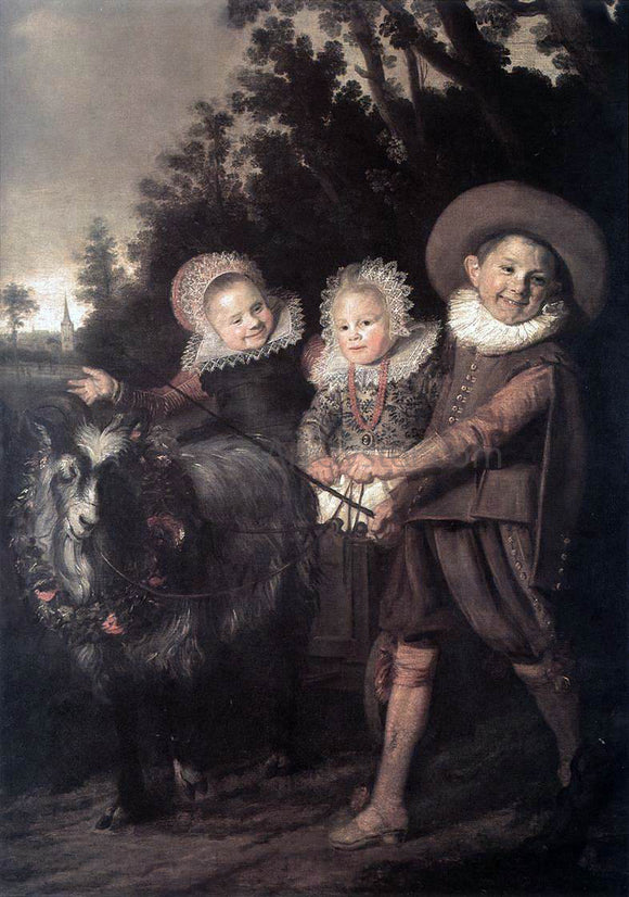 Frans Hals Three Children with a Goat Cart - Canvas Art Print