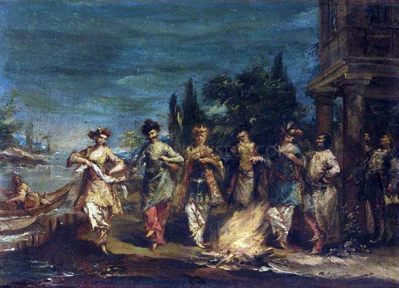 Giovanni Antonio Guardi Three Couples in Exotic Dress Dancing in Front of a Fire - Canvas Art Print