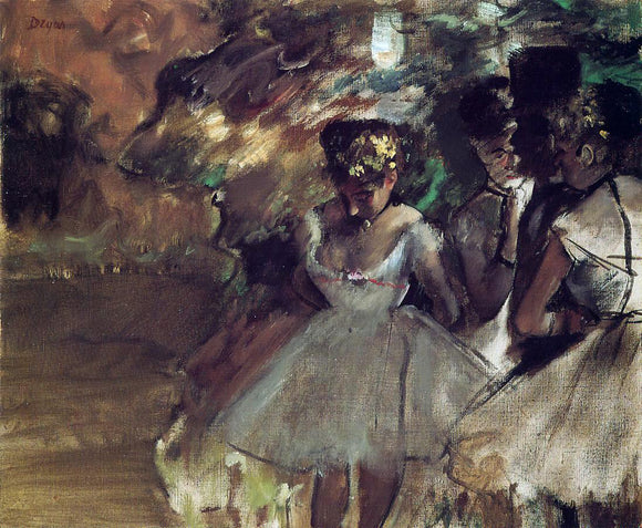 Edgar Degas Three Dancers behind the Scenes - Canvas Art Print