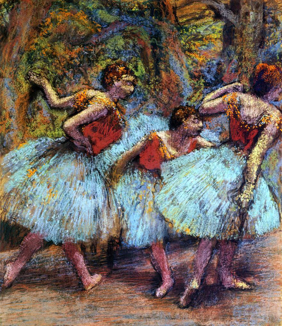 Edgar Degas Three Dancers, Blue Skirts, Red Blouses - Canvas Art Print