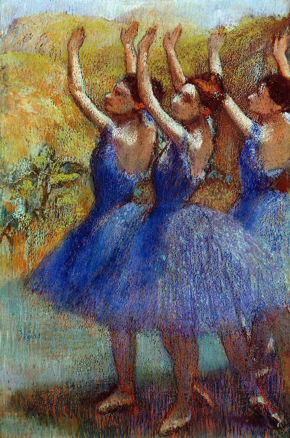 Edgar Degas Three Dancers in Purple Skirts - Canvas Art Print