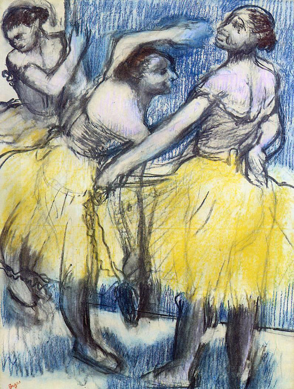 Edgar Degas Three Dancers in Yellow Skirts - Canvas Art Print