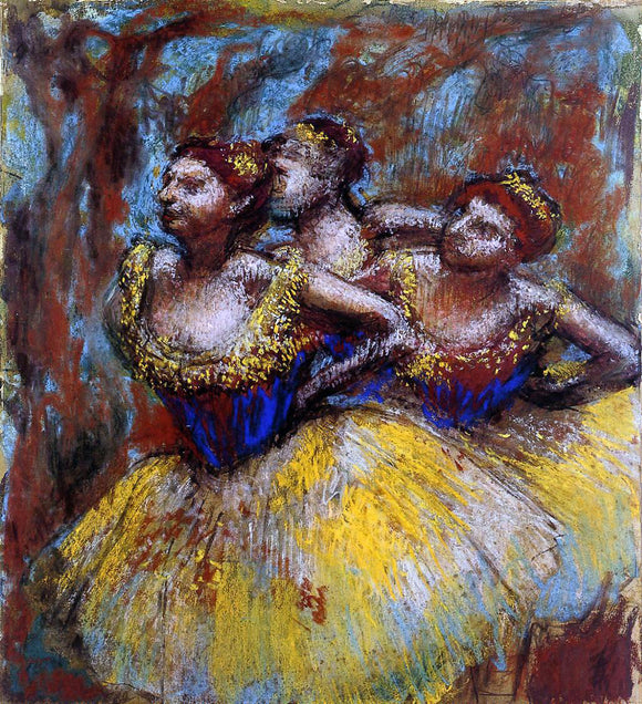 Edgar Degas Three Dancers: Yellow Skirts, Blue Blouses - Canvas Art Print