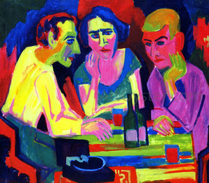 Hermann Scherer Three Figures at the Table - Canvas Art Print