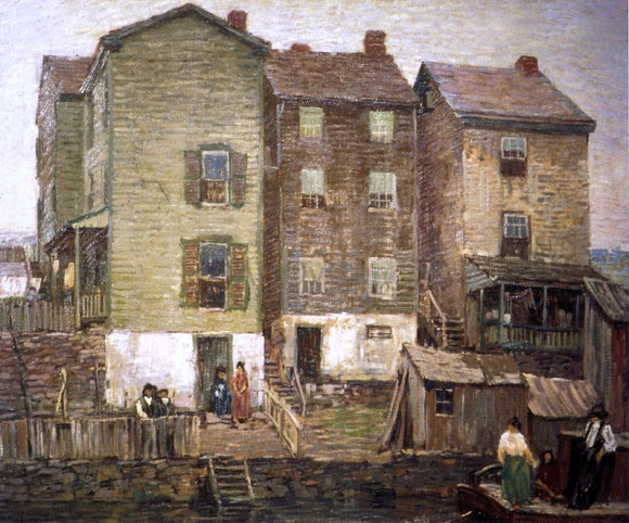 Robert Spencer Three Houses - Canvas Art Print