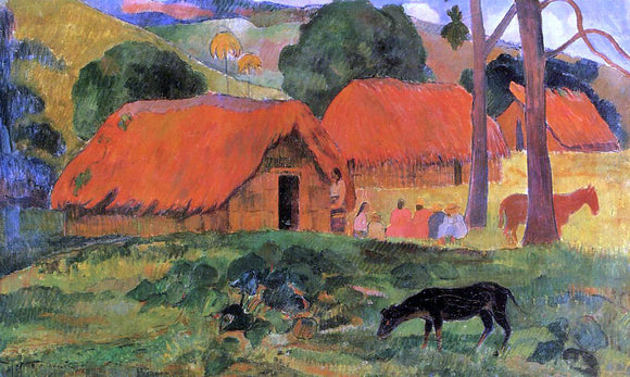 Paul Gauguin Three Huts, Tahiti - Canvas Art Print