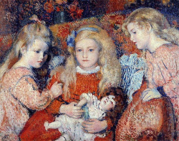Georges Lemmen Three Little Girls - Canvas Art Print