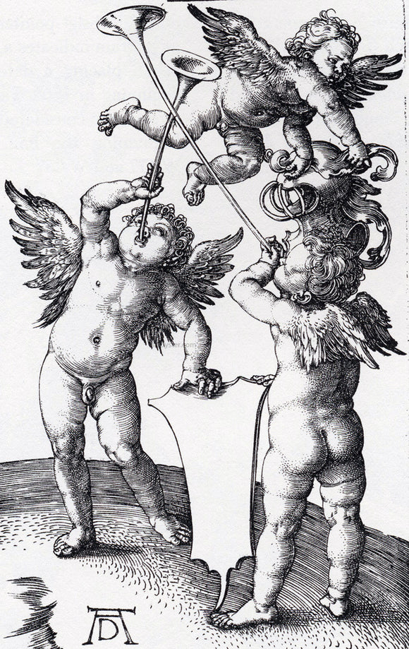 Albrecht Durer Three Putti With Shield And Helmet - Canvas Art Print