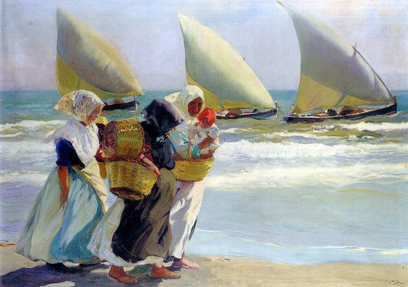 Joaquin Sorolla Y Bastida Three Sails - Canvas Art Print